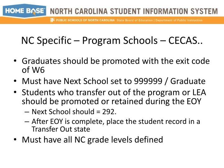NC Specific – Program Schools – CECAS..