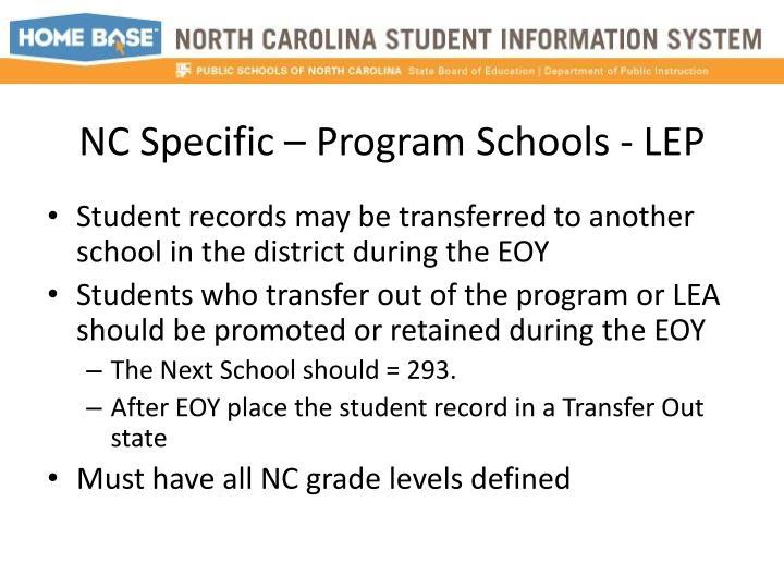 NC Specific – Program