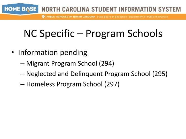 NC Specific – Program Schools