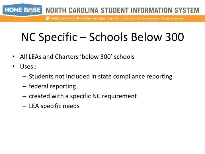 NC Specific – Schools Below 300