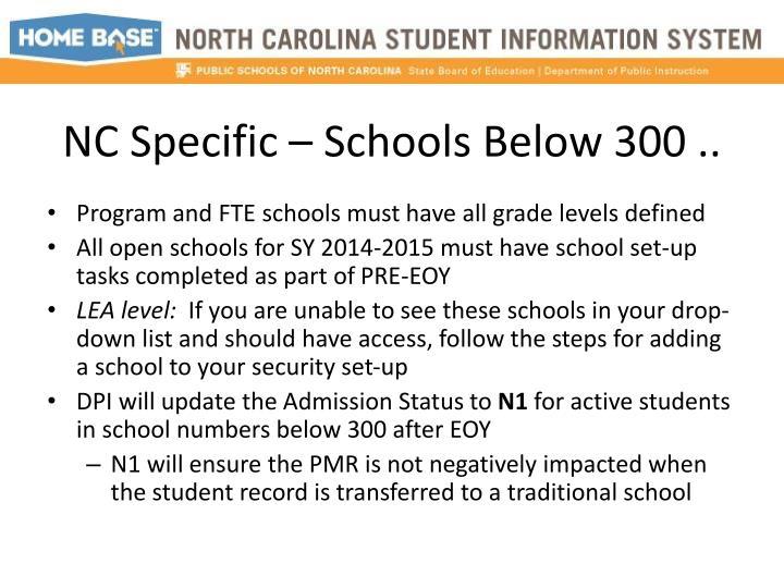 NC Specific – Schools Below 300 ..