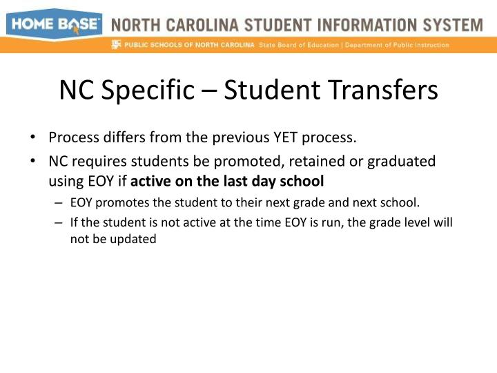 NC Specific – Student Transfers