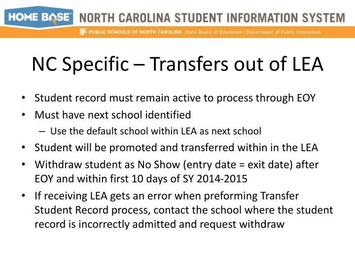 NC Specific – Transfers out of LEA