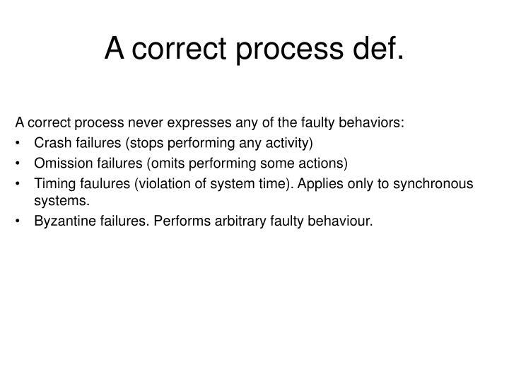 A correct process def.
