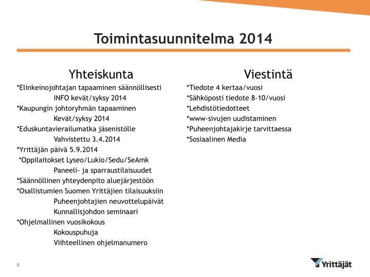 Toimintasuunnitelma 2014
