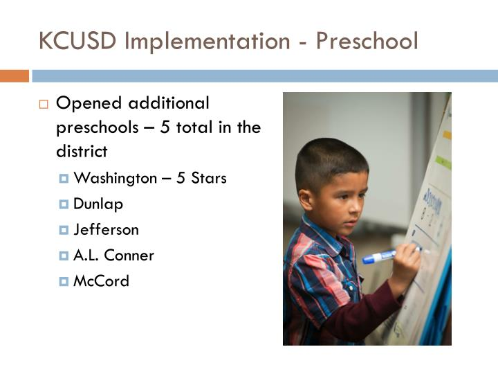 KCUSD Implementation - Preschool