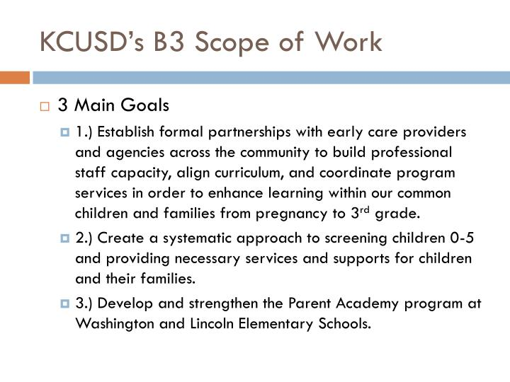 KCUSD's B3 Scope of Work
