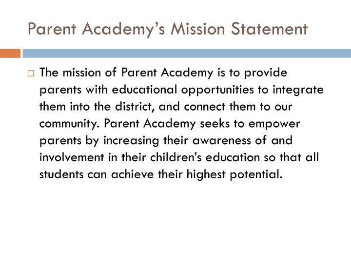 Parent Academy's Mission Statement