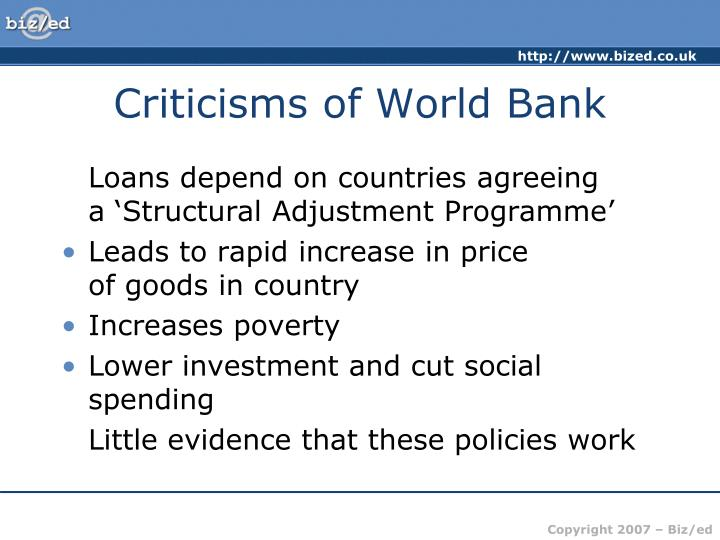 Criticisms of World Bank