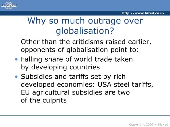 Why so much outrage over globalisation?