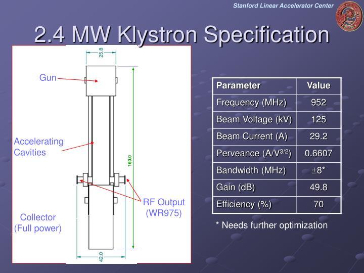 2.4 MW Klystron Specification