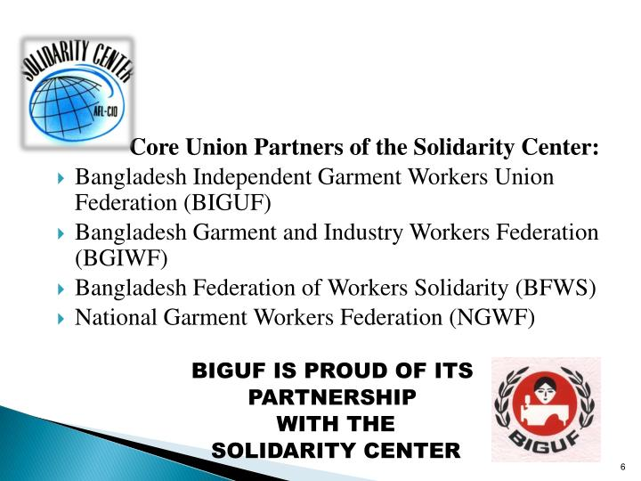 Core Union Partners of the Solidarity Center: