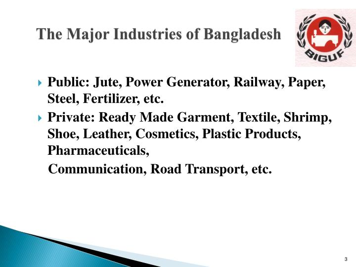 The major industries of bangladesh