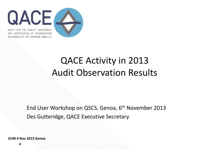 qace activity in 2013 audit observation results n.
