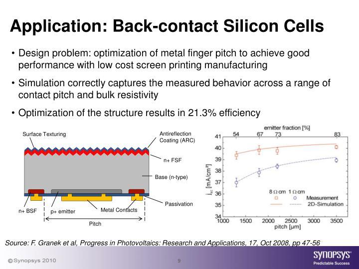 Application: Back-contact Silicon Cells