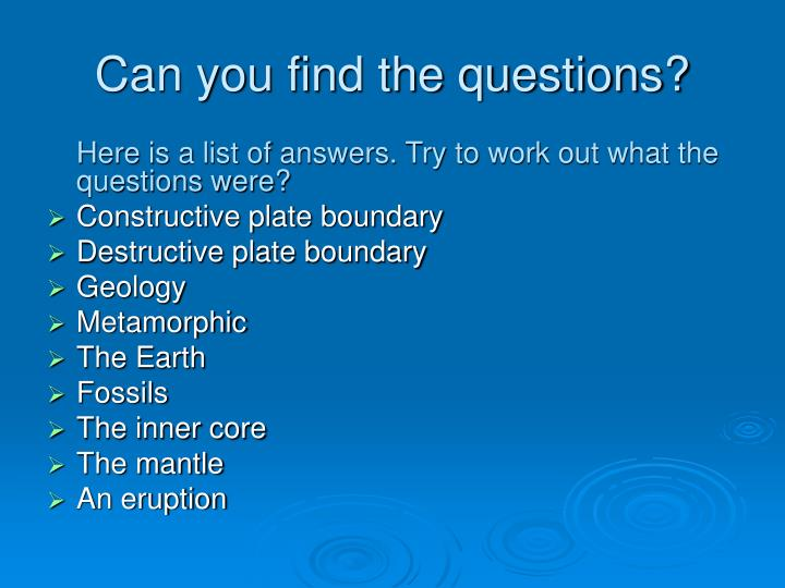 Can you find the questions?