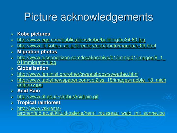 Picture acknowledgements