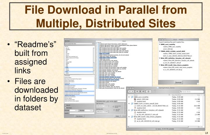 File Download in Parallel from Multiple, Distributed Sites