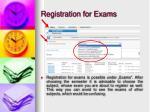 registration for exams