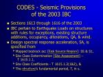 codes seismic provisions of the 2003 ibc