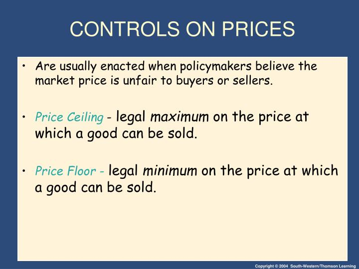 controls on prices n.