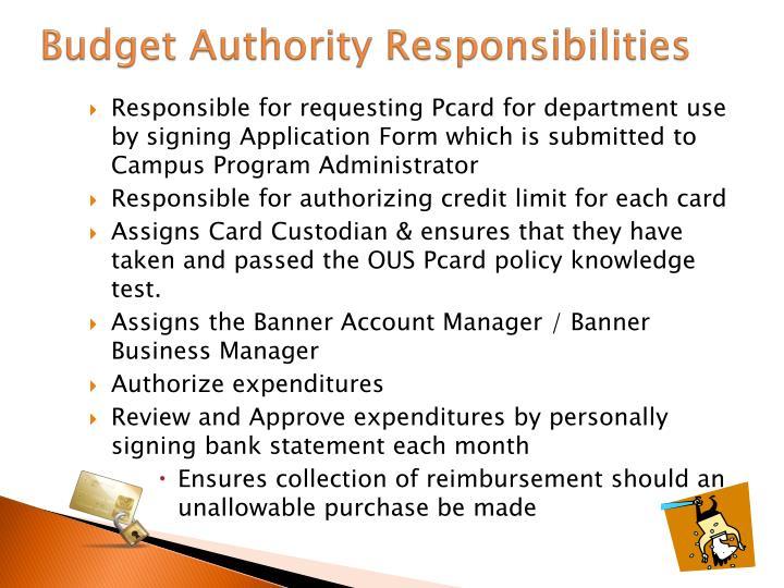 Budget Authority Responsibilities