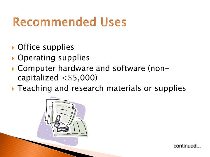 Recommended uses