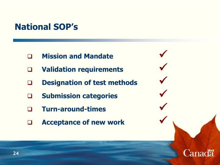 National SOP's