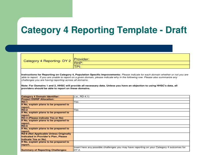 Category 4 Reporting Template - Draft