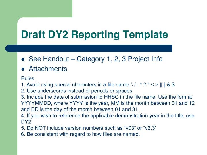 Draft DY2 Reporting Template