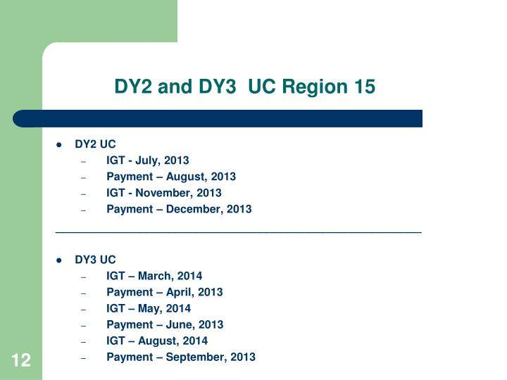 DY2 and DY3  UC Region 15