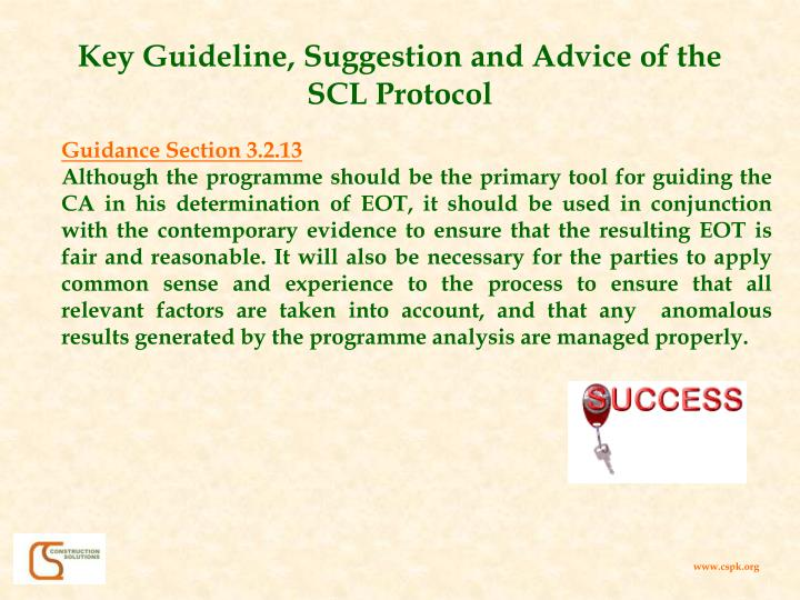 Key Guideline, Suggestion and Advice of the SCL Protocol