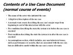 contents of a use case document normal course of events