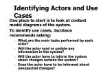 identifying actors and use cases
