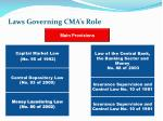 laws governing cma s role