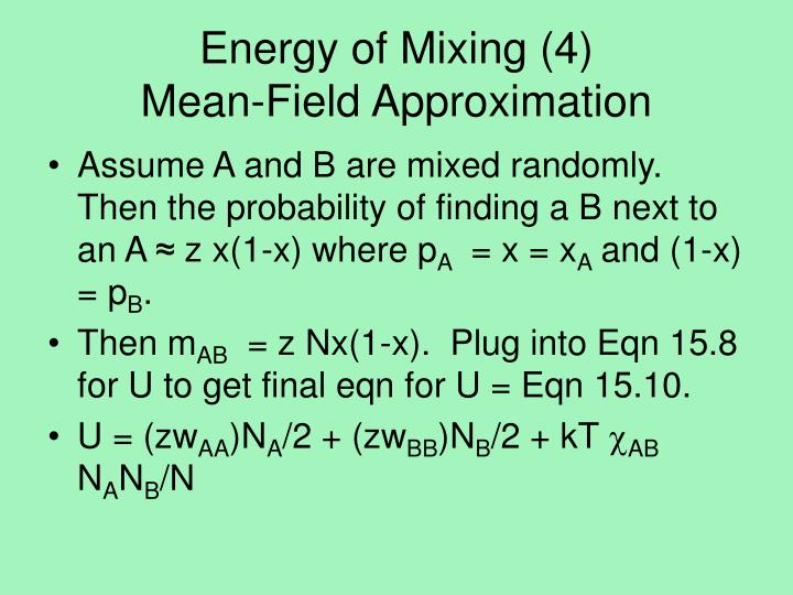 Energy of Mixing (4)