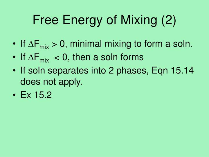 Free Energy of Mixing (2)