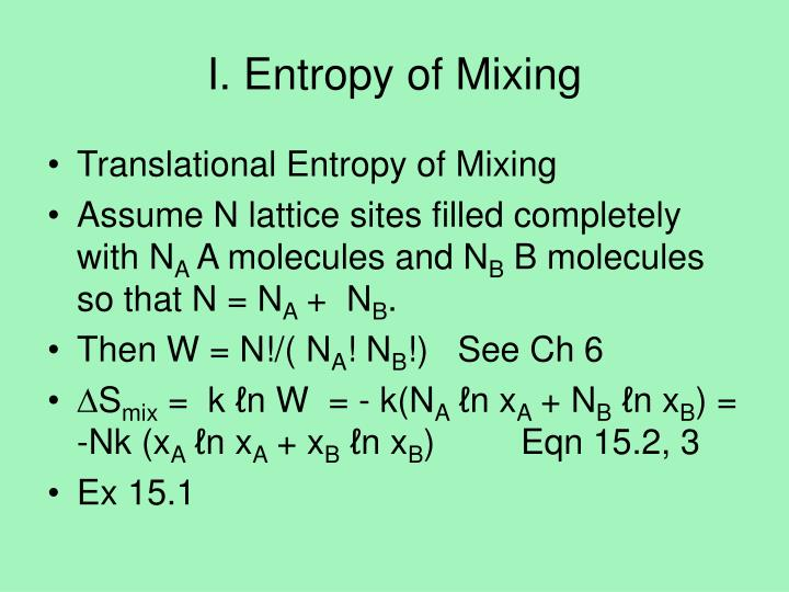 I entropy of mixing