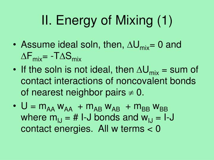 Ii energy of mixing 1