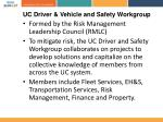 uc driver vehicle and safety workgroup