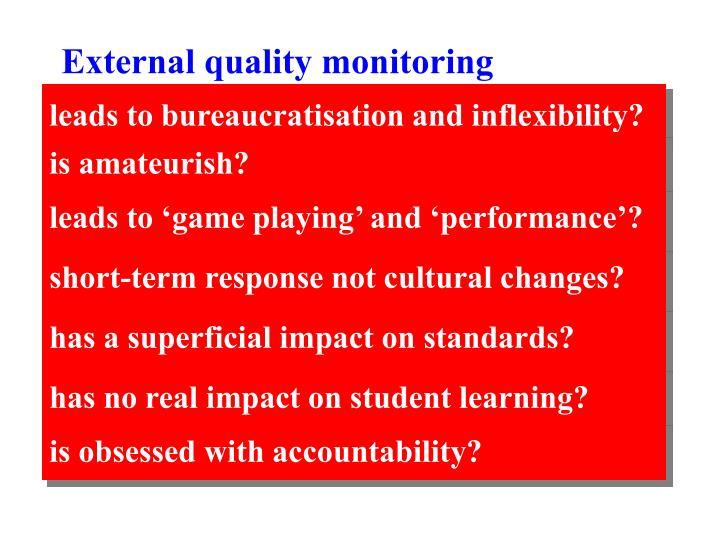 External quality monitoring