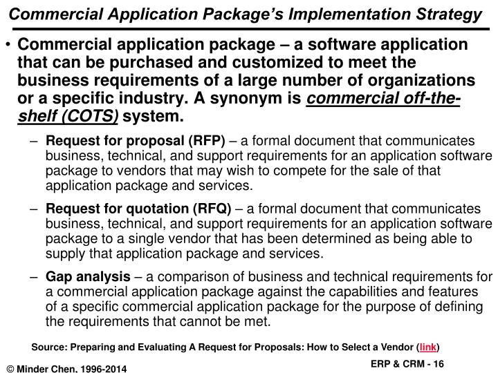 Commercial Application Package's Implementation Strategy