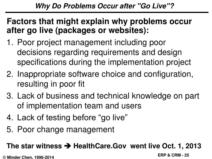 """Why Do Problems Occur after """"Go Live""""?"""