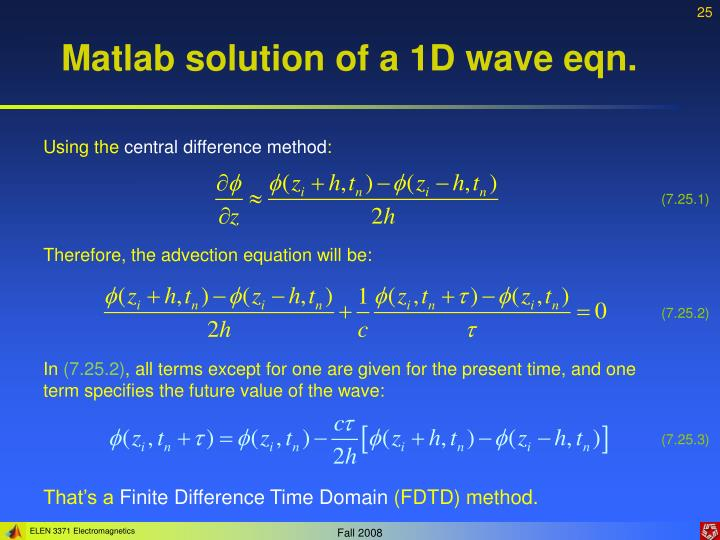 Matlab solution of a 1D wave eqn.