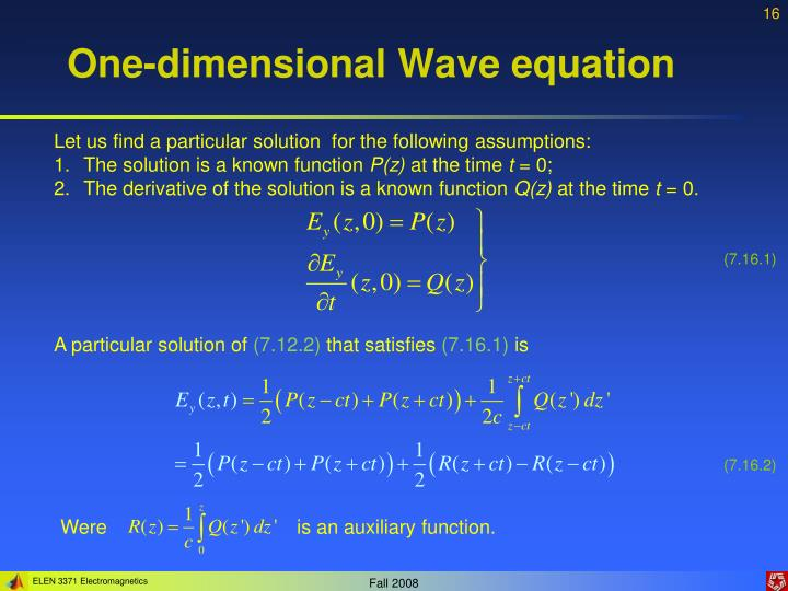 One-dimensional Wave equation