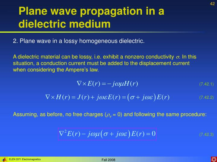 Plane wave propagation in a dielectric medium