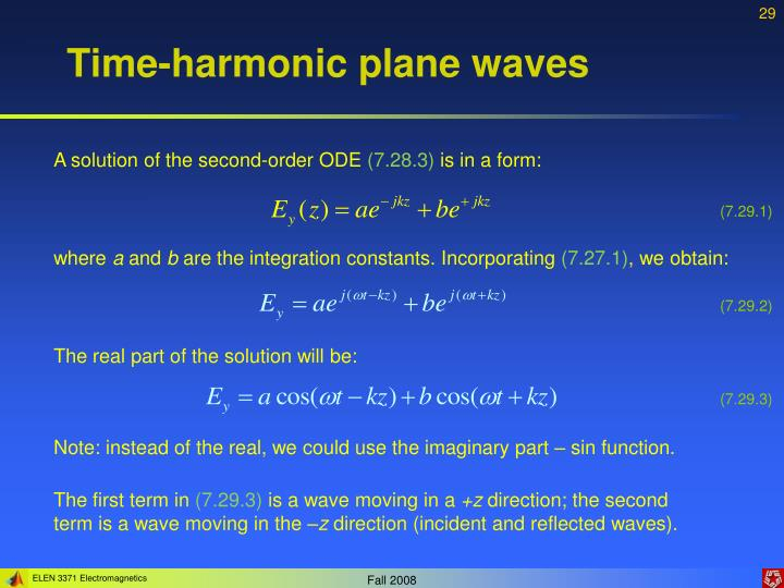 Time-harmonic plane waves