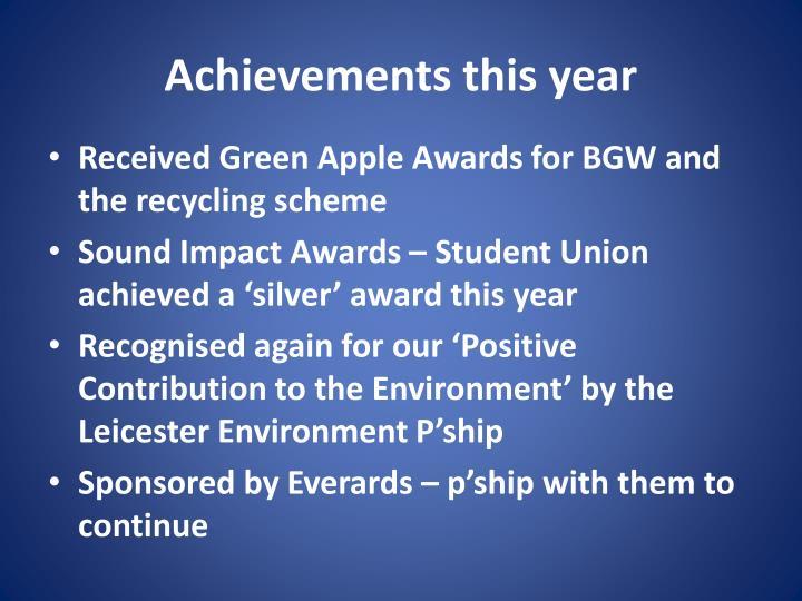 Achievements this year