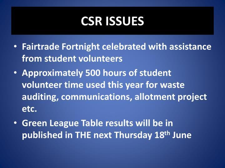CSR ISSUES