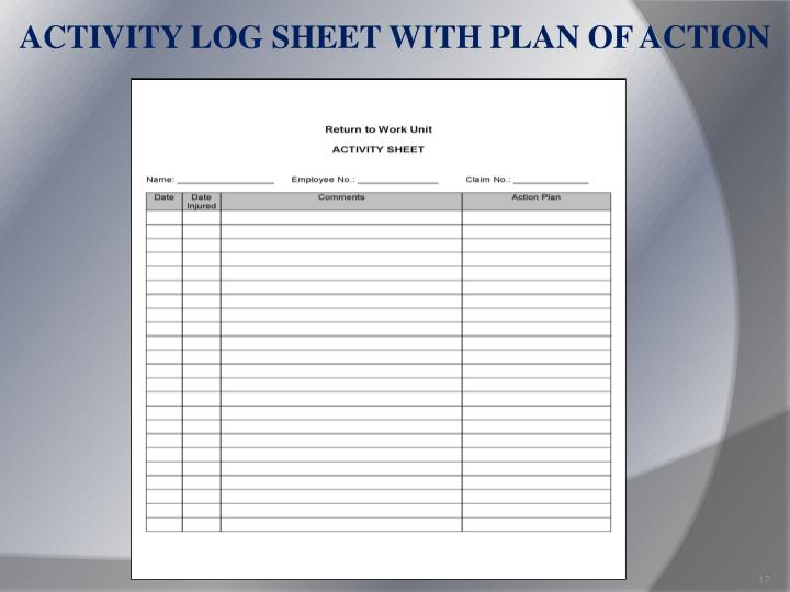 ACTIVITY LOG SHEET WITH PLAN OF ACTION